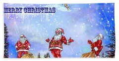 Merry Christmas To My Friends In The Faa Bath Towel by Andrzej Szczerski