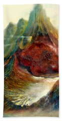 Hand Towel featuring the painting  Mountains Fire by Henryk Gorecki