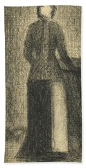 Nurse With A Childs Carriage  Hand Towel