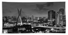Sao Paulo Iconic Skyline - Cable-stayed Bridge - Ponte Estaiada Bath Towel