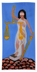 Hand Towel featuring the painting  The Balance  by Lorna Maza