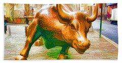 The Landmark Charging Bull In Lower Manhattan  Hand Towel
