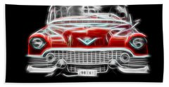 Vintage Hand Towel featuring the photograph  Vintage Red Cadillac by Aaron Berg