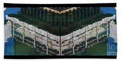 Hand Towel featuring the photograph  Water Reflection Twofold by Heiko Koehrer-Wagner