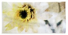 White Flower Hand Towel by Linda Woods
