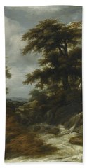 Wooded Landscape With Waterfall Bath Towel