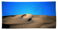 Yuma Dunes Number One Bright Blue And Tan Hand Towel by Heather Kirk