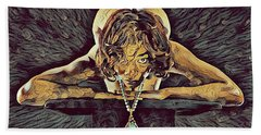 0756s-zac Nude Woman With Amulet On Tall Pedestal  Hand Towel