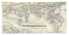 1873 Beers Map Of Southold  Shelter Island Long Island New York  Bath Towel