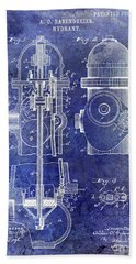 1903 Fire Hydrant Patent Blue Bath Towel