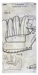 1943 Baseball Glove Patent Hand Towel by Jon Neidert