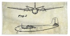 1945 Transport Airplane Patent  Bath Towel