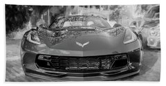 Hand Towel featuring the photograph 2017 Chevrolet Corvette Gran Sport Bw by Rich Franco