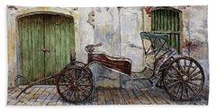 A Carriage On Crisologo Street 2 Bath Towel by Joey Agbayani
