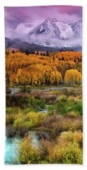 A Fall Snow At Sunrise Hand Towel