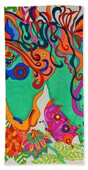 Bath Towel featuring the painting A Rainbow Called Romeo by Alison Caltrider