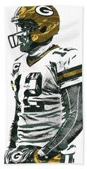 Aaron Rodgers Green Bay Packers Pixel Art 5 Bath Towel by Joe Hamilton