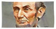Bath Towel featuring the painting Abraham Lincoln by Wayne Pascall