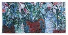 Hand Towel featuring the painting Abstract Flowers by Betty Pieper