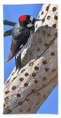 Acorn Woodpecker Bath Towel