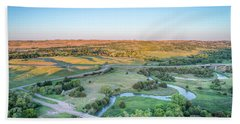 aerial view of Dismal River in Nebraska Bath Towel