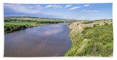 aerial view of Niobrara River in Nebraska Sand Hills Hand Towel