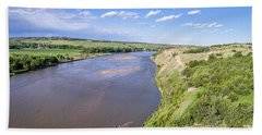aerial view of Niobrara River in Nebraska Sand Hills Bath Towel