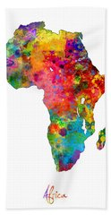 Africa Watercolor Map Hand Towel by Michael Tompsett