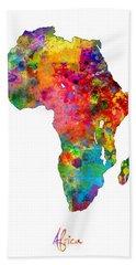 Africa Watercolor Map Bath Towel by Michael Tompsett