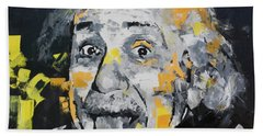 Hand Towel featuring the painting Albert Einstein by Richard Day