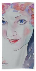 Hand Towel featuring the painting Alisha by Mary Haley-Rocks