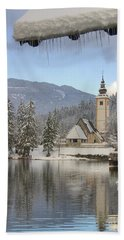 Bath Towel featuring the photograph Alpine Winter Clarity by Ian Middleton