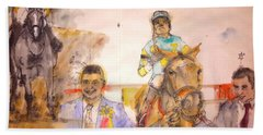 Hand Towel featuring the painting American Pharaoh Abum by Debbi Saccomanno Chan