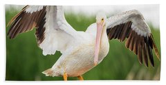 American White Pelican  Hand Towel by Ricky L Jones