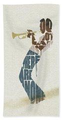 Bath Towel featuring the digital art Miles Davis Typography Art by Inspirowl Design