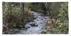 Bath Towel featuring the photograph An Autumn Stream by Jeff Swan