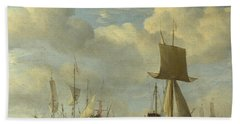 An English Vessel And Dutch Ships Becalmed Hand Towel
