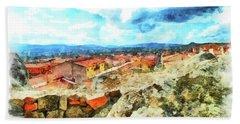 Arzachena Landscape With Clouds Bath Towel