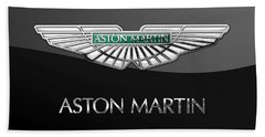 Aston Martin 3 D Badge On Black  Hand Towel
