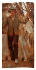 Hand Towel featuring the painting At The Break Of The Poop  by Henry Scott Tuke