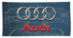 Audi 3 D Badge Over 2016 Audi R 8 Blueprint Hand Towel by Serge Averbukh