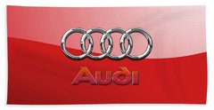 Audi - 3d Badge On Red Hand Towel
