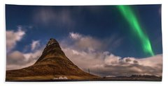 Bath Towel featuring the photograph Aurora Blast Kirkjufell, Iceland by Pradeep Raja PRINTS