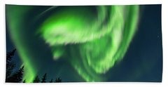 Aurora Borealis In Fairbanks Alaska Bath Towel