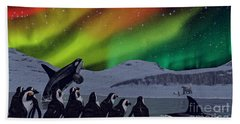 Hand Towel featuring the digital art Aurora Borealis by Methune Hively