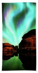 Aurora Over Lagoon Bath Towel