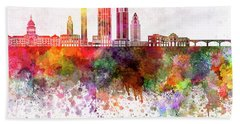 Austin Skyline In Watercolor Background Hand Towel by Pablo Romero