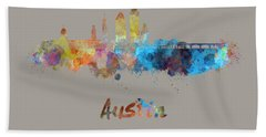 Austin Skyline In Watercolor Hand Towel by Pablo Romero