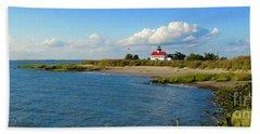 Autumn At East Point Lighthouse Bath Towel