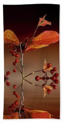 Bath Towel featuring the photograph Autumn Leafs And Red Berries by David French